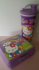 TUPPERWARE Hello Kitty Purple Lunch Set Sandwich Keeper 16oz Tumbler spout