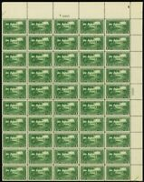 617, VF Mint NH Top PL# Sheet of 50 1¢ Stamps Brookman $400.00 - Stuart Katz