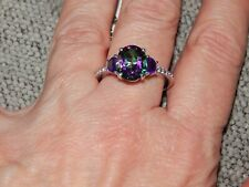 MYSTIC GREEN TOPAZ,AMETHYST & WHITE TOPAZ RING-SIZE L-4.750CTS-WITH PLATINUM