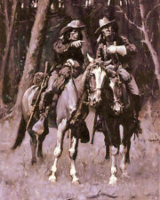 Native American Cheyenne Indian Scouts On Horse Painting Real Canvas Art Print
