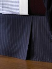 RALPH LAUREN GREENWICH MODERN NAVY BLUE & WHITE CHALK STRIPE KING BEDSKIRT