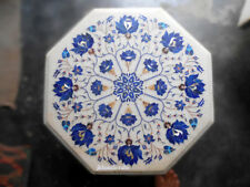 """White 14"""" Marble Coffee Table Top Lapis Marquetry Inlaid Work Handmade Gift"""
