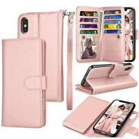 Women Handbag Leather FlipMagnetic Removable Wallet Case Cover for iPhone XS Max
