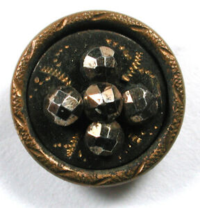 """Antique Brass Cup Button Etched Jappanned Design with Cut Steel Accents 1/2"""""""