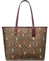 NWT Coach F80246 Reversible City Tote Party Animals Signature Saddle Brown $350