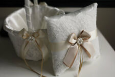 Lace Bearer Pillow Champagne Wedding Flower Lace Ring bearer Girl Basket Set