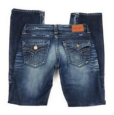Big Star Liv Boot Flap Pocket Thick Stitch Distressed Blue Jeans Women's 28R