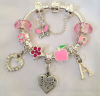 girls daughter big sister niece friend CHOOSE message initial charm bracelet