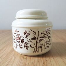 Vintage J & G Meakin Windswept England brown wheat graphic ivory sugar jar bowl