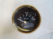OIL PRESSURE GAUGE 100246 BLACK FACE / GOLD BEZEL MARINE BOAT