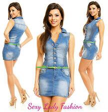 Womens Blue Sexy Jeans Denim Blue Bodycon Mini Dress Skirt Belt Size 8 10 12 14