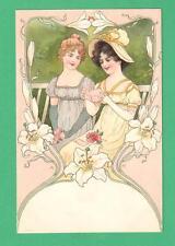 EARLY VINTAGE ART NOUVEAU SIGNED POSTCARD LADIES GARDEN BENCH FLOWERS READ NOTE
