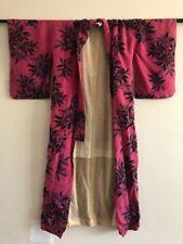 Vintage Pink Black Floral Print Silk Cotton Kimono