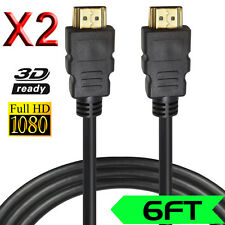 2Packs 4K Gold HDMI to HDMI Cable (6 feet), 3D&1080P and Audio Video Return