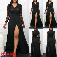 Womens Sexy Lace Mesh Split Maxi Long Dress Ladies Evening Dress Party Prom Gown