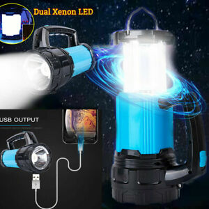 Outdoor Camping Lamp Torch USB Rechargeable Power Bank LED Lantern Tent Light UK