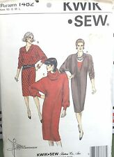 Kwik Sew Pattern 1482 Dress Dolmen Sleeves Deep V neck Uncut XS-L 31.5-41.5 Bust