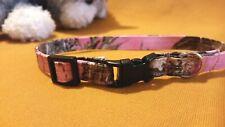 Cat Collar, Handmade - Pink True Timber Cotton Camo . Meow