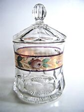 Covered Clear Glass Apothecary Jar Gold Trim Hand Painted Decoration