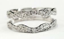10k White Gold Diamonds Wave Design Solitaire Enhancer Wedding Ring Guard Wrap