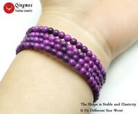 Natural 4-5mm Purple Round Sugilite Steel Wire Wrap Bracelet  for Women Jewelry