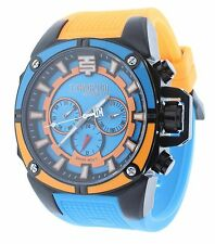 Technosport TS-100-10M Mens Watch Swiss Multifunction Blue/Orange Silicone Strap