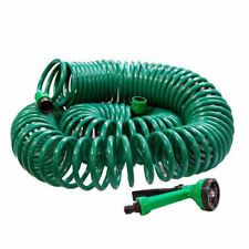 30M COIL RETRACTABLE GARDEN HOSE REEL PIPE SPRAY GUN NOZZLE FITTINGS 100' 100ft