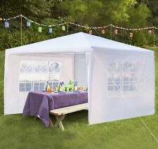 Outdoor Party Tent with 3 Side Walls, 10'x10' White Patio Gazebo Tent outsides