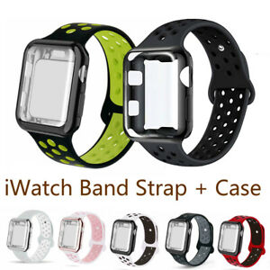 For Apple Watch Series 3 4 5 6 SE Band Case Loop Strap Sports Screen Protector