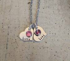 Custom Couples 2 Name Birthstone Pendant Charm Necklace Personalize Wedding Gift