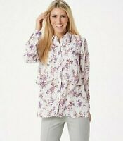 Joan Rivers Silky Floral Print Double Layer Blouse Ivory Size 1X A349355