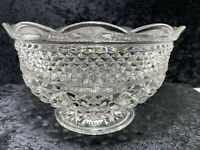 "Clear Diamond Button Pressed Glass Parfait Fruit Serving Bowl 6""H x 10""W Vintage"