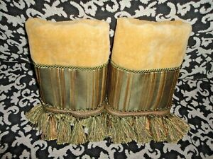 CROSCILL WARM HONEY GOLD GREEN STRIPE FRINGED (2PC) HAND TOWELS SET 16 X 27