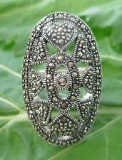 """925 STERLING SILVER Marcasite """"Long Oval Hearts"""" Ring size K1/2 to P Girl Women"""
