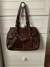 Women's F&F Brown Leather Handheld Medium Bag