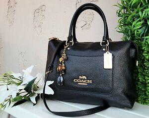 New COACH EMMA 31467 Satchel Crossbody black Leather purse handbag tote bag