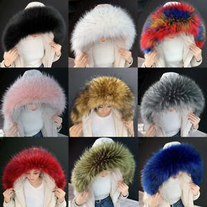 Detachable Coat Jacket Collar Hood Faux Fur Raccoon Fur Hood Shawl Wrap Winter