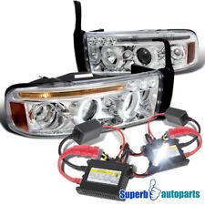 1994-2001 Dodge Ram Halo LED Projector Headlights Chrome+H1 Slim HID Kit