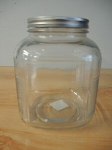 1 ANCHOR HOCKING CLEAR GLASS JAR W BRUSHED ALUMINUM LID