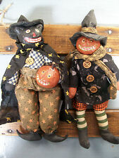 2 NWT Black CAT & PUMPKIN JACK O LANTERN Halloween Ornament Folk Art Dolls