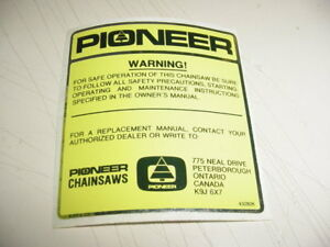 PIONEER CHAINSAW P41 P51 P60 STICKER DECAL ------------------ BOX 590