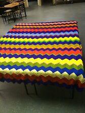 Handmade Zig Zag Crochet Afghan Throw Blanket-Multi Color-96x65 Huge-Estate Find