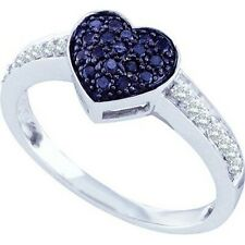 0.34ctw Black Diamond Heart Ring 10K White Gold