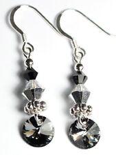 Silber Ohrringe mit Swarovski® Kristallen Grau Schwarz glitzer + Metall