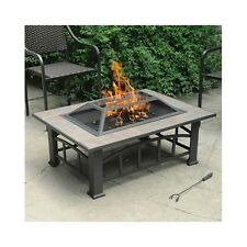 Fire Pit Table Outdoor Heater Bowl Patio Deck Yard Rectangle Firepit Fireplace