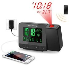 Digital Projection Alarm Clock with Weather Station with Device Charger