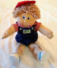 VTG Cabbage Patch Doll 1984 boy lght brown hair blue eyes denim overall red cap