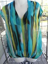 NWOT-Alfani sleeveless top size 4-sheer polyester-turquoise, lime and black.