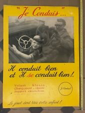 PLAQUE CARTON PUBLICITAIRE JOUET VOLANT VOITURE GARAGE ANCIEN  JE CONDUIS