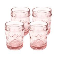 Fleur-De-Lys, juice glass tumbler, Drinkware glass, cap 10 oz,Pink ,set of 4